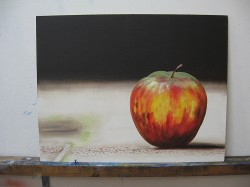 jablko podle fotografie - dokončená malba